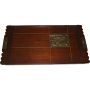 French Art Deco Wood Tray With Metal Plaque of Nude Woman and Fish