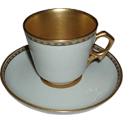 Antique Ginori Gilded Porcelain Demitasse Cup and Saucer