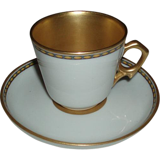 SALE Vintage Ginori Gilded Porcelain Demitasse Cup and Saucer