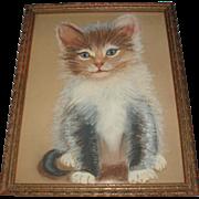 Vintage Kitten Cat Painting