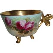 Antique French Limoges Porcelain Butterfly Handle Cup With Roses
