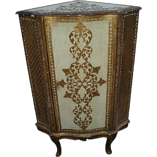 SALE Old and Beautiful Italian Florentine Gilded Corner Cabinet