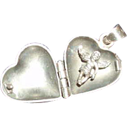 Vintage Sterling Silver Heart Locket With a Cherub Inside