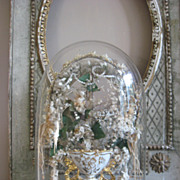 "Beautiful  Ornate Glass Dome with Vase ""Porcelain de Bruxelles"" and Gorgeous Wax and other flowers.."