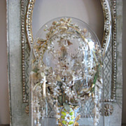 """Beautiful Ornate Glass dome with a vase """"Porcelain Vieux de Bruxelles"""" with great wax- and other flowers in."""