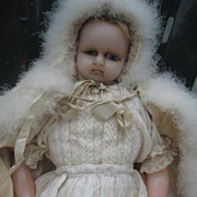 Gorgeous early English poured wax doll Victorian era.