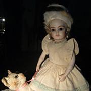 Beautiful woolen dress, fur snow white hat, and woolen jacket.