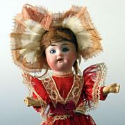 "All Original ~ Antique Bisque head Doll  9 "" German ~ Great dress"