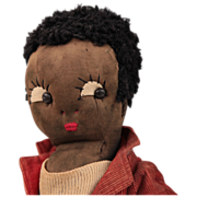 "Black Beecher type Stockinette~Needle Sculpted~ Sambo~ Cloth Doll 16"""