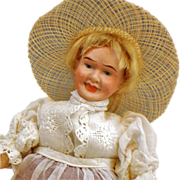 "8"" Dressel  Character Portrait Witch/ Farmer key wind doll"