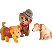 MIJ~ 3 Celluloid  toy Dogs 1930's~ Wind-up  and Nodders