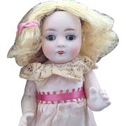 """All Bisque 7""""~ ABG Antique doll~ Sleep eyes~ All original w/ mailing crate"""