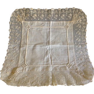 Fancy Hankie Embroidered Tulle lace & Linen heirloom quality