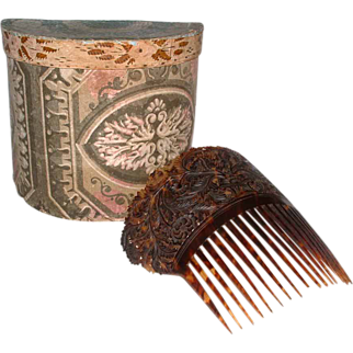 Wallpaper Decorated Box with Pierced and Relief-Carved Spanish-style Hair Comb, American, c. 1830