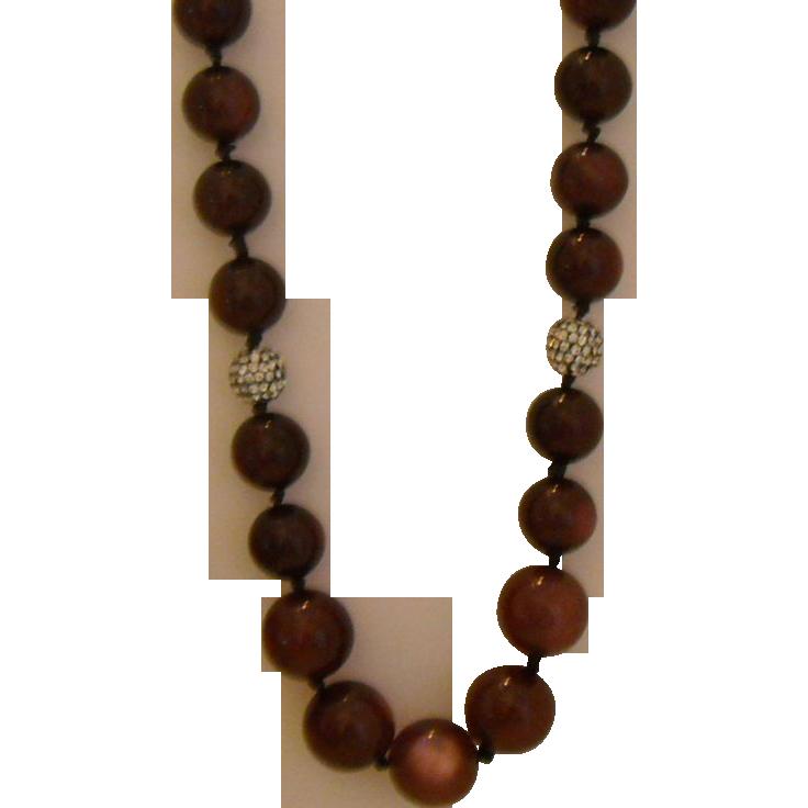 Vintage Necklace - Plum Moonglow Bead Necklace