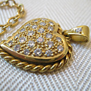 Vintage Diamond 14kt Heart Pendant Necklace
