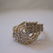 Vintage 14kt Diamond Ring - Art Deco Style