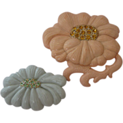 Rare 1940's Art Plastic Flower Pins