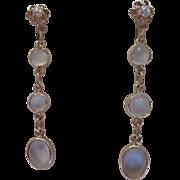 Estate Moonstone Diamond Dangle Earrings 10kt Gold
