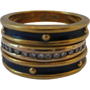 Gorgeous Stacked Cobalt Enamel and Diamond Bands 14kt