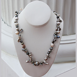 Baroque Cultured Freshwater Pearl Bali Bead Necklace