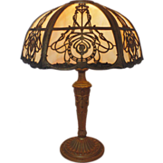 Art Nouveau Slag Stained Bent Glass Lamp w/ Cameos Arts & Crafts Mission Bungalow
