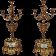 Pair Antique French Victorian Gilt Bronze Mantle Candelabra w/ Porcelain Cherub Putti Plaque Inserts Aesthetic Eastlake Era Candelabrum Candle Holders