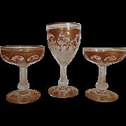 3 Antique Gilt Champagne & Wine Glasses Cut Glass Stems Goblet Gold