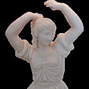 Antique Neo-Classical Parian Dancing Woman Sculpture Lamp