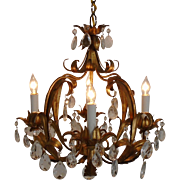 Vintage Italian Tole Chandelier Gilt Metal w/ Elegant Prisms Lusters Lustres Light Fixture