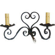 PAIR Antique Wall Sconces Lamps 19c French Victorian Hand-Forged Metal Electrified Heart Shaped