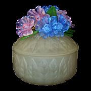 Vintage Murano Venetian Satin Glass Dresser Vanity Powder Jar or Trinket Jewelry Box w/ Glass Flowers & Leaves Italian Italy