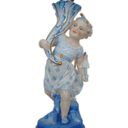 19c Antique French Victorian Lamp Porcelain Converted Oil to Electric Vion and Baury, Choisy Le Roi, France, circa 1880