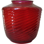 Antique Hanging Lamp Shade Ruby Red Glass 19c Victorian Hall Pendant Lamp Light