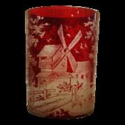 Czechoslovakia Bohemian Ruby Red Glass Windmill Czech