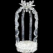 Antique Wedding Cake Topper / Ornament Holder Italian Glass w/ Love Birds Gazebo Italy