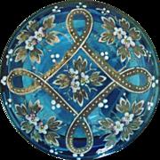 Antique Moser Blue Glass Box Dresser Vanity Victorian Bohemian Enameled for Trinket Jewelry Powder Art Nouveau