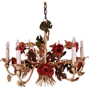 Vintage Italian Tole Roses Chandelier Florentine Flowers Floral