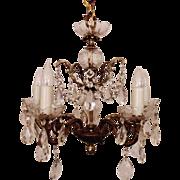 Spanish Revival Chandelier Brass & Glass w/ Prisms