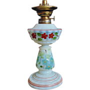Antique 19c French Victorian Oil Lamp White Opalescent Glass