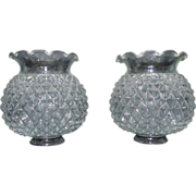 Pair Vintage Glass Shades for Lamps Sconces Diamond Pattern