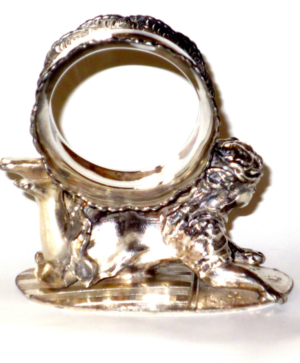 Figural Meriden Silverplate Napkin Ring Crawling Baby on American Flag