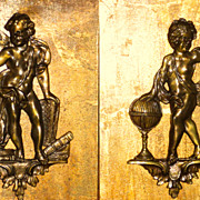 Pair Bronze/Brass? Cherub Large Furniture Mounts Very Detailed Mounted for Display