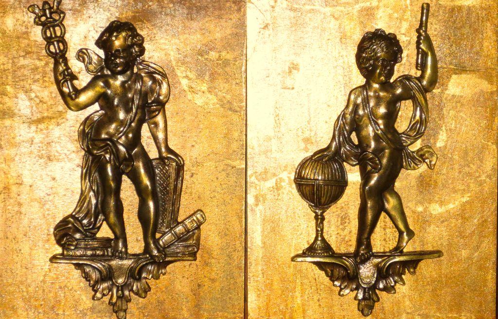 Pair Bronze/Brass? Cherub Large Furniture Mounts Very Detailed Mounted for Display