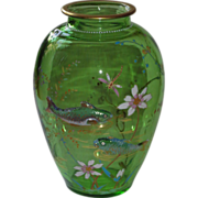 Moser Style Art Glass Aquatic Vase w/ Raised Fish Gilt, Enamels