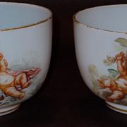 Fine Pair Baccarat Fiery Opalescent Bowls w/Cherubs Artist E. Froger