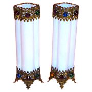 PR. French Opaline Jeweled Vases w/Filigree Mounts