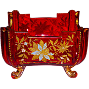 Fine & Unusual Bohemian Moser Style Cut Cranberry w/Enamels & Gilt