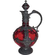 Cranberry Glass Flacon or Jug Figural Elaborate Mounts