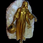 Fine Ca. 1900 Gilt Female Figure w/Water Urn  Sculpture w/Natural Stone